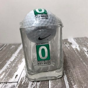 Key West Square Shot Glass with Nike golf ball